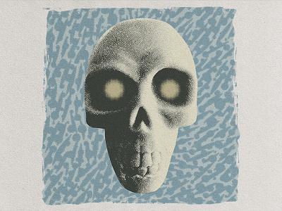 Fish Tank Skull hand drawn paper stipple halftone distress blue pattern texture skull