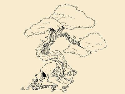 Bonsai Skull digital illustration tattoo ink digital art apparel shirt design photoshop illustration design