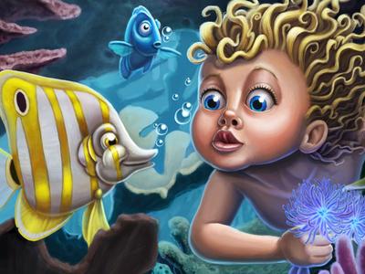 Coral mermaid fish digital painting cintiq wacom photoshop
