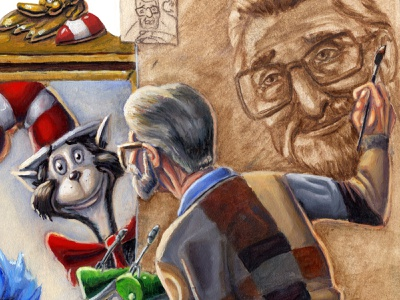 Seuss Rockwell things grinch illustration mixed media oil painting norman rockwell dr seuss