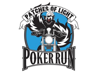 Patches of Light Poker Run skunk biker illustration illustrator vector poker run patch apparel logo
