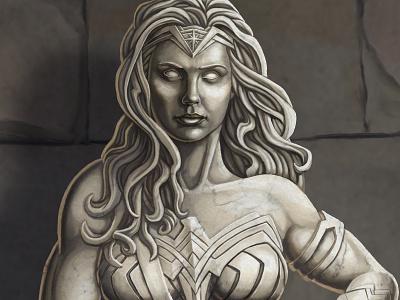 Diana digital illustration portrait painting digital painting portrait statue roman art greek art art history diana prince diana wonderwoman photoshop illustration