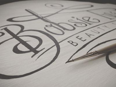 Bobsie Twins Sign In Progress hand lettering typography design logo sign branding beauty salon bobsie twins