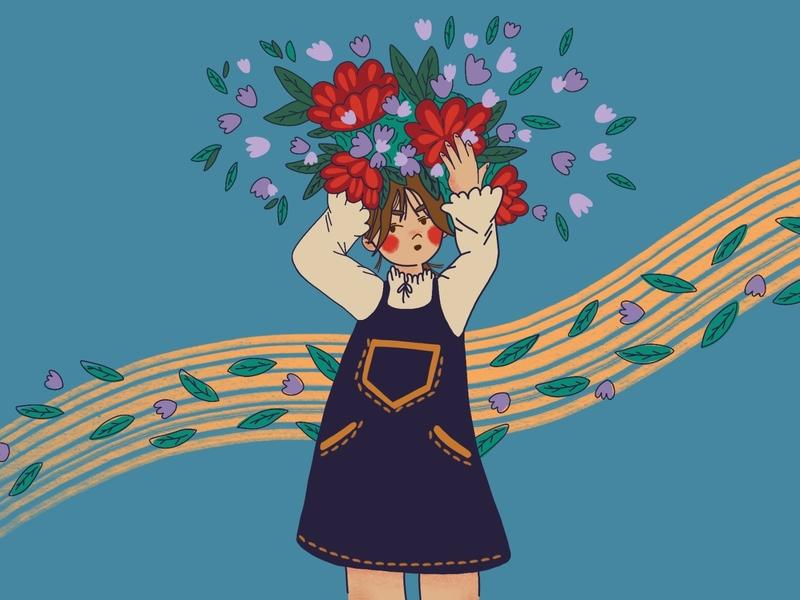 Flower fever design flowers girl art minimal flat illustration cute