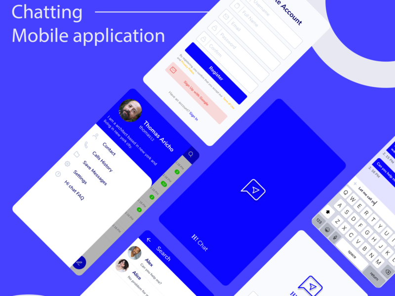 Chatting Apps mobile app blue chatting mobile figma