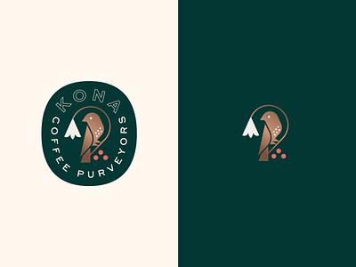 Kona Coffee Purveyors crest badge plant flower bird logo branding coffee bird