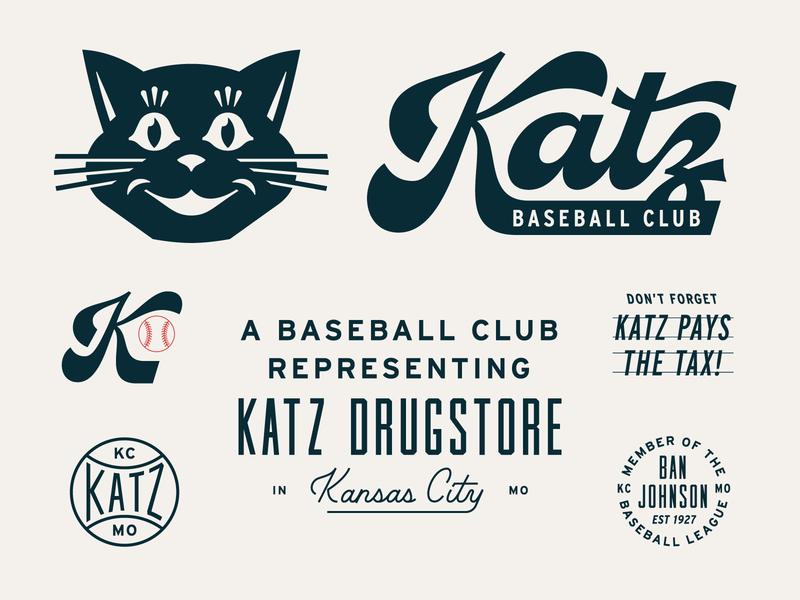 Katz Baseball Club Revival lettering custom type badge kansascity history branding wordmark logotype script lettering script cat sports retro baseball