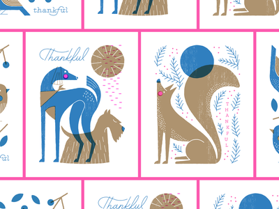 Thankful Cards christmas winter animals cute risograph lettering illustration bird birds fox dog