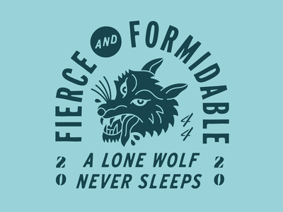 Fierce & Formidable racing muscle car crest badge illustration wolf