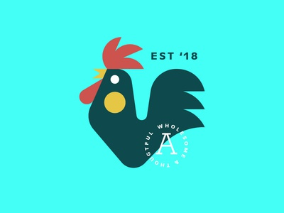 Rooster Dooster bird logo simple poultry rooster