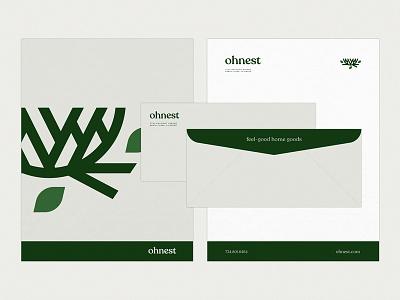 Ohnest Stationery stationery branding leaf nest goods home home goods correspondence letterhead envelope
