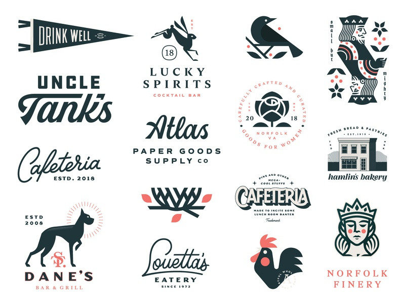 Some Stuff: 2018 bakery rose flower king bird nest rooster queen pennant dog rabbit logo illustration lettering logotype