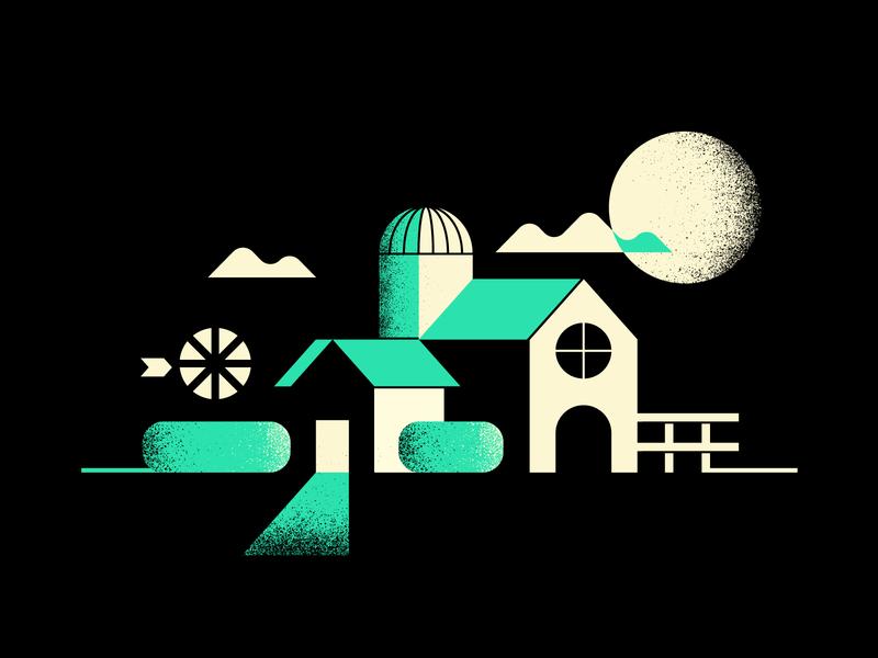 Farmhouse silo house dark night bushes clouds moon windmill rural farm
