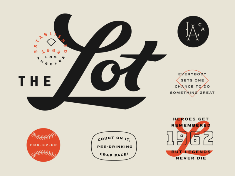 The Lot Lettering logotype film movie lettering vintage script baseball sandlot