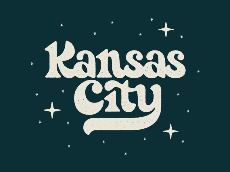 Kansas City Lettering funky typography type night vintage retro stars kansascity lettering