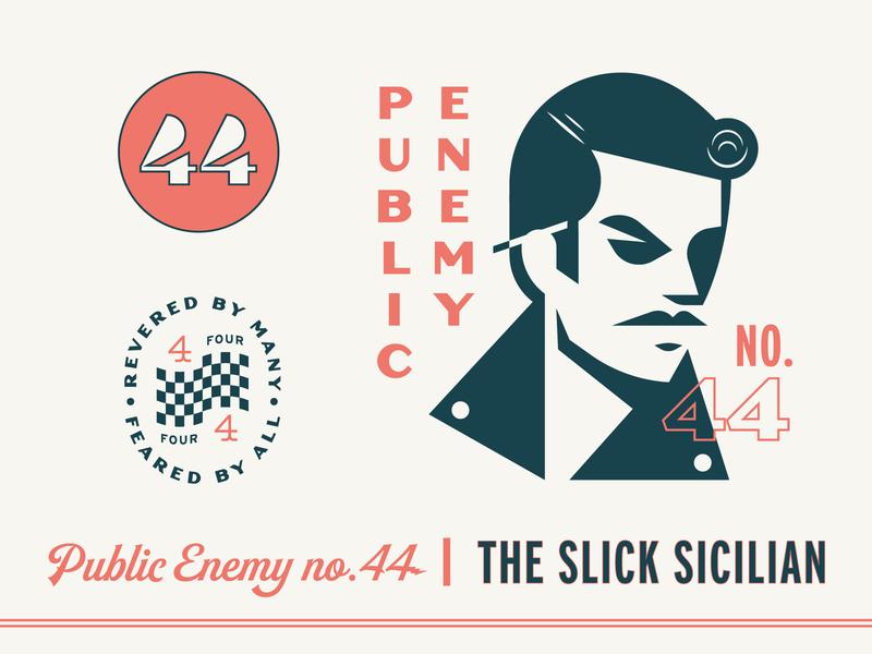 Public Enemy no. 44 mustache illustration car logo pompadour leather jacket vintage retro greaser racing