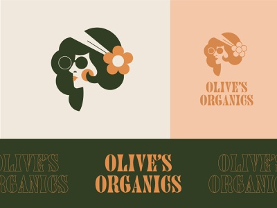 Olives Organics | Frontify Playoff branding health healthy sunglasses illustration hippie vintage retro logo food fruit
