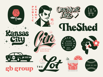 Some Stuff: 2019 lettering cocktail liquer gin retro vintage script logotype baseball hippie musclecar car rose flower