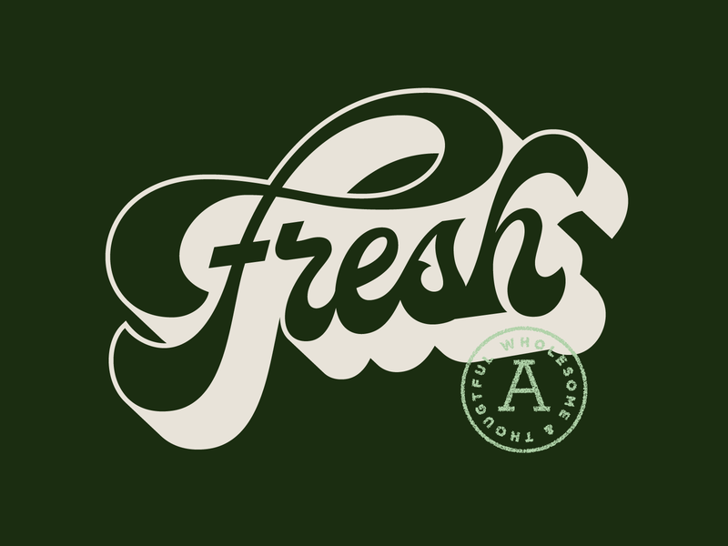 Fresh produce typography type retro vintage script lettering fresh