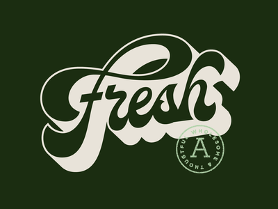 Fresh produce typography type retro vintage script lettering fresh