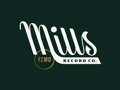 Mills Record Co. custom type kansascity mid-century mid century midcentury backslant records record store lettering wordmark logotype script