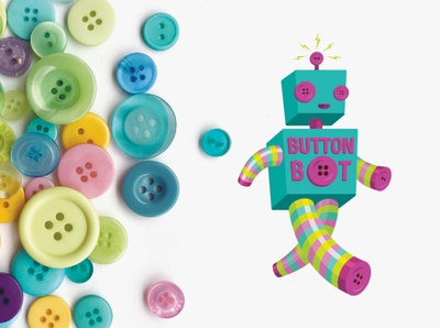 Button Bot Logo robots mascot character design buttons robot logo