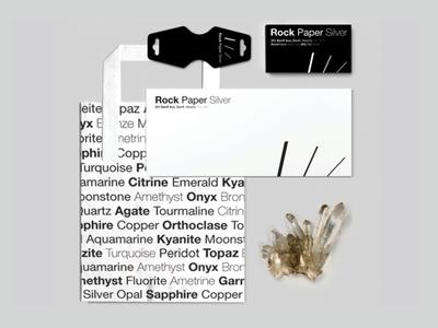 Rock Paper Silver Branding minimal black and white minerals rocks gemstones gems jewelry branding packaging design logo