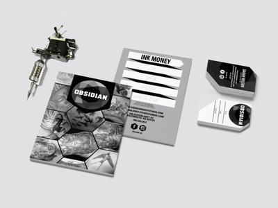 Obsidian Tattoo & Laser Branding business cards stationery diamond obsidian rock gemstone gem tattoo shop tattoo giftcard postcard business cards branding design logo