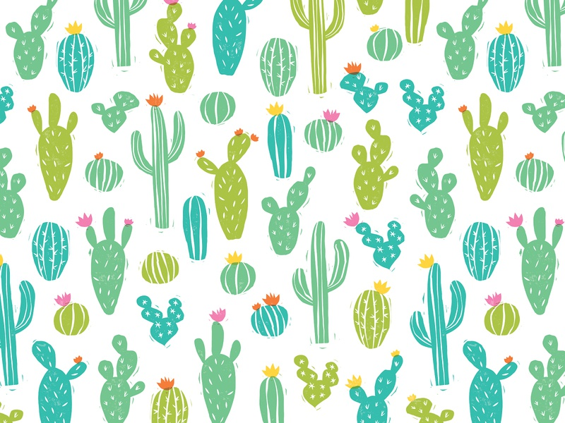 Cactus Pattern desert stamp texture woodblock stamp pattern design patterns cactus pattern flower plant succulent cactus pattern