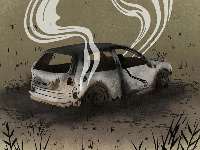Burnt Out Car Illustration corpse murder death car on fire car true crime drawing illustration