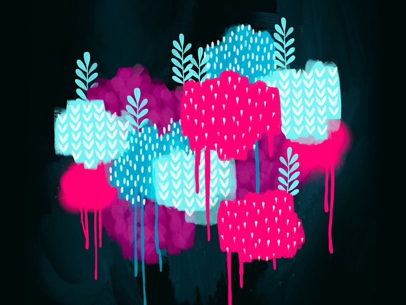 Paint Splatter Illustration drawing magenta pink foliage plants trees bushes illustration paint illustration splatter paint
