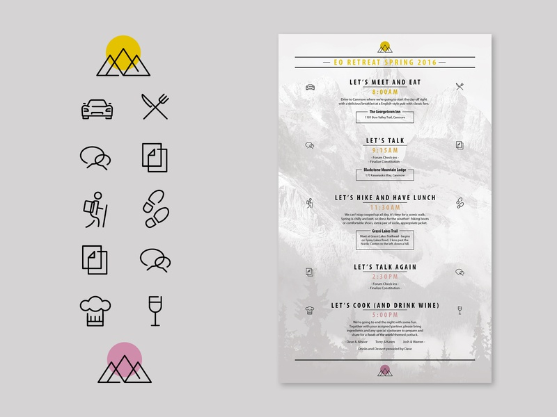 Menu of Events Design and Icons menu of events menu mountain icons design