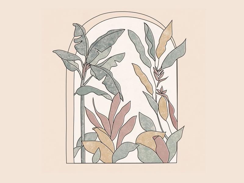 Tropical window doodle plants tropical leaves minimalism illustration vector artwork minimalist artline illustration art