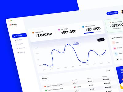 Budgy - A budget planner dashboard budget web uiuxdesign dashboard illustration app design uiux uidesign dailyui ui ux design