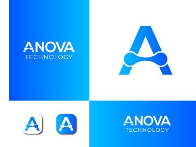 Anova Tech logo app icon tech logo anova logo app logo icon branding wordmark logo vector coloring logo minimal illustration design logo
