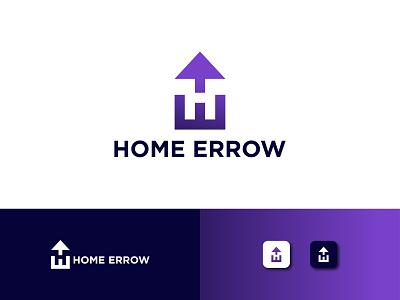 Home Errow logo marks logo design branding gradient logo arrow logo app logo h letter logo logo mark home logo icon logotype creative logo coloring logo vector minimal illustration branding design logo