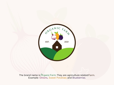 Organic Farm Vintage Logo logo presentation logodesign vector illustration logotype greenlogo vintage farm logo farm logo blueberries logo sweet potato logo onion logo organic logo vintage logo creative logo illustration coloring logo vector minimal branding design logo