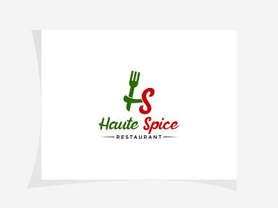 Haute Spice Restaurant Logo spoon logo hs spoon logo restaurant logo creative logo wordmark logo icon vector coloring logo illustration minimal design branding logo