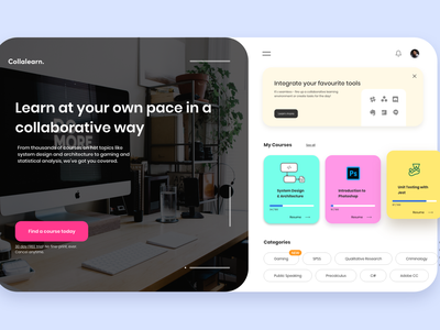 Collalearn - The Collaborative Online Learning Platform uiux ui design onboarding collaboration course app courses learning ui