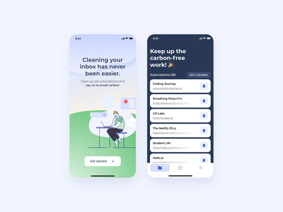 CarbonMail -  The email inbox cleaning app ui adobexd mobile-app-design carbon-footprint email