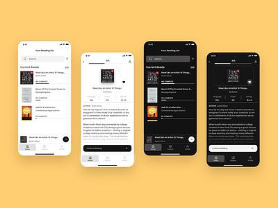 Readwell - A minimalist reading app books dark mode redesign adobexd reading app design ui