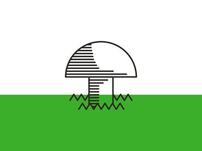 Mushroom single-color illustration monoweight