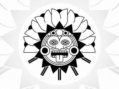Rancho de Lomi Crest tonatiuh monoweight geometric aztec tulips logo family crest