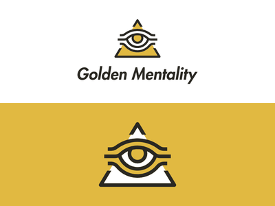 Golden Mentality Logo goldmember but he meditates thick lines third eye illuminati shit