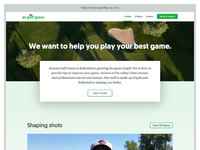 AZ Golf Gurus Homepage ui weird crops bad browser chrome big shadows landing page web design