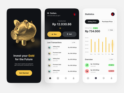 Gold Investment App white black overview transactions statistics 3d trading gold design concept design branding uiux ux design ui design app mobile investment