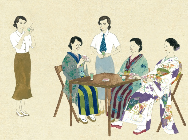 karuizawa in 1945 1930s ukiyoe woodblockprint manga illustration