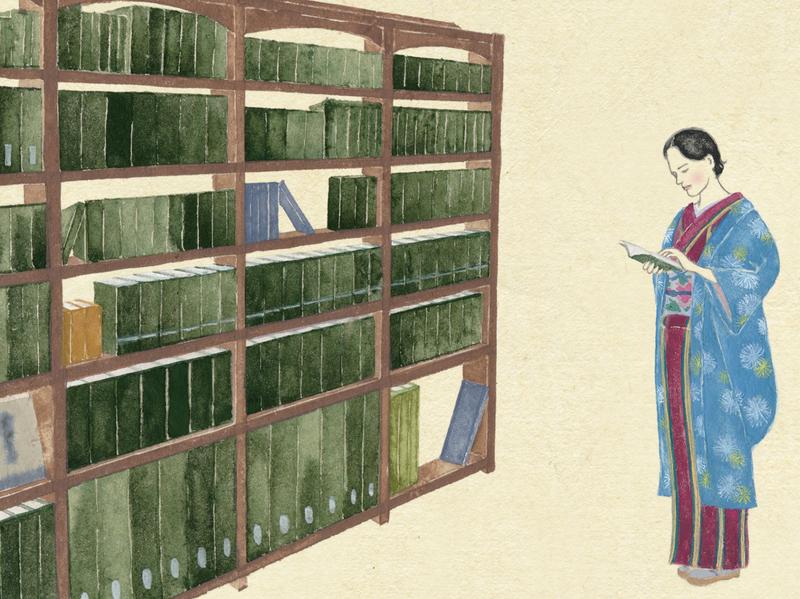A female author in 1930 1930s woodblockprint ukiyoe manga illustration