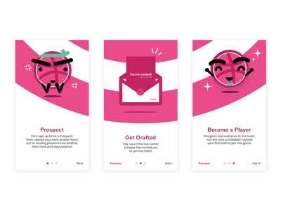 Welcome to Dribbble! welcome onboarding shot dribbbler app mobile debut screen flow minimal ux ui
