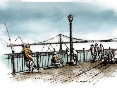 SF Fisherman's Pier san franciscosketch illustration troy beefishing pencil watercolor wharf fishermans wharf